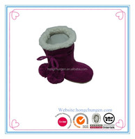 Kids new style POM POM knit indoor winter warm slipper boots