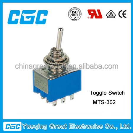China manufacturers 9 pins 3PDT mini Toggle Switch MTS-302 toggle switch