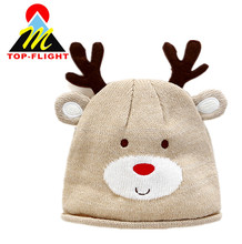 Baby winter cartoon dear knitted hat 100% cotton beanie hat