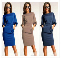 Have stock European Style Hot Sale Latest Dress Designs Fashion party long Sleeve business working women Dress