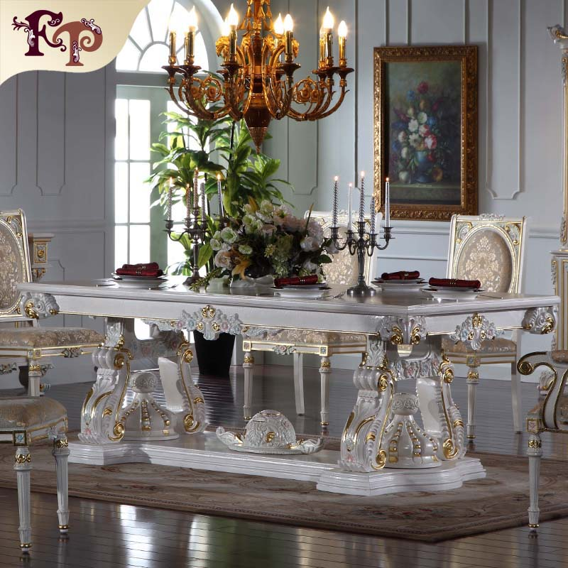 Best price furniture hand carving solide wood royalty dining table made in china