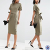 wholesale dresses gold supplier fashion belted wiggle dresses for women lady oem simple office lady's dress in linen