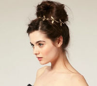 Free Shipping Gold Plated Leaf Elastic Wholesale Hair Accessories