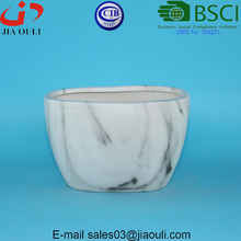 New garden decorative planter water transfer printing marble Oval Ceramic plant pots