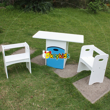 2016 wholesale kids wooden table and chairs with storage box new design white kids wooden table and chairs W08G193