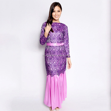 Hotsale Circle Lace baju kurung Silk Satin kaftans o neck high quality baju kurung