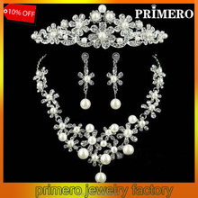 PRIMERO Fashion Hot Sale Crown Tiara Pearls Silver Plated Crystal Choker Necklace Earrings Jewelry Set For Wedding Evening Party