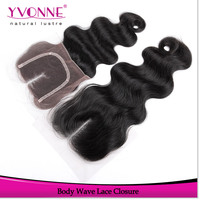 Wholesale body wave middle part lace closure with baby hairs