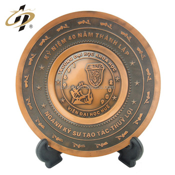 High quality custom engraved souvenir oval shape metal name commemorative plates