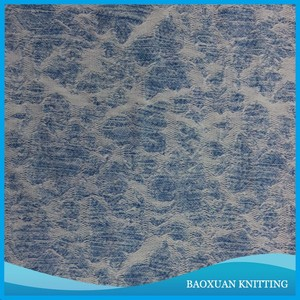 100%polyester white light blue yarn dyed jacquard knit fabric used as curtain