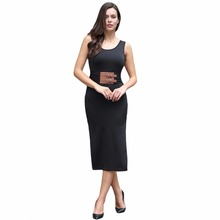 Sexy Women Midi Bodycon Dress Solid PU Splice Ruched Split O-Neck Sleeveless Elegant Casual Party Sundress