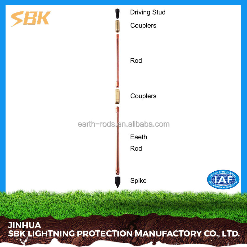 SBK high quality Threaded Copper Rod Lightning Protection