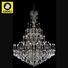 Large hotel lobby 55 lights Dark Bronze finished Metal chandeliers crystal prices