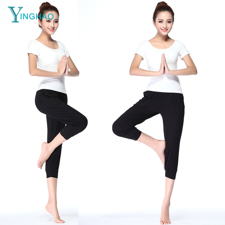 wholesale modal yoga cropped trousers fashionable women's pants