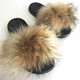 Perfect Wholesale Fashionable Sandals Fur Slides Custom Logo Fox Fur Furry Slippers for women