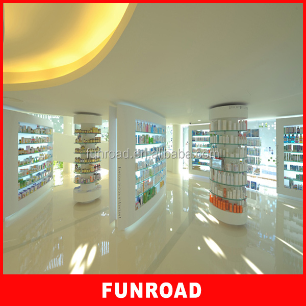 High end wall display cabinet and showcase for pharmacy shop design