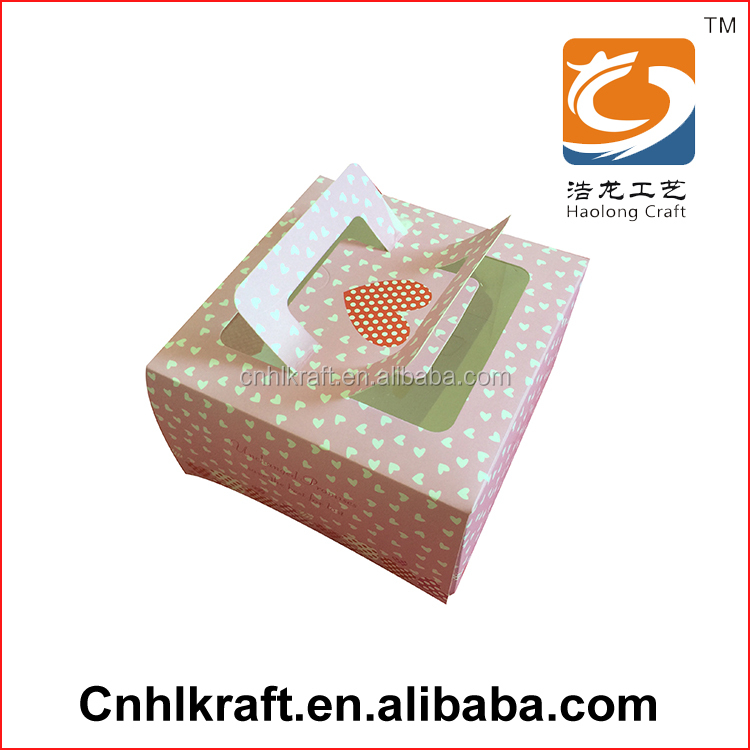 alibaba china hot sale custom paper cardboard cake packaging box for macaron cake with window