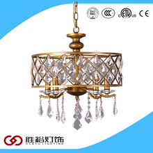 2016 Simple design stainless steelmetal hollow-out metal crystal pendant light for dinning room