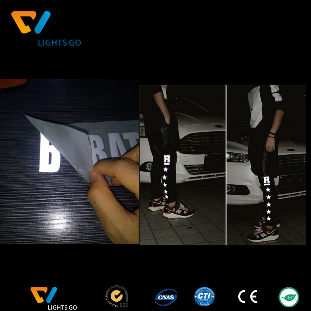 Customized glow in the dark reflective logo for heat transfer on t-shirt
