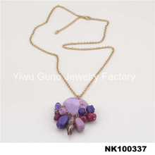 colorful glass beads long necklace gold necklace jewlery type