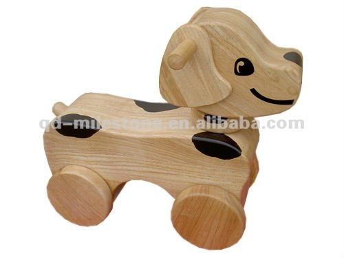 satin finish kids big wooden pupy ride toy