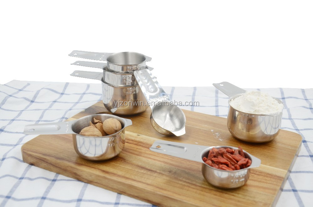 Item J4-012 Hot sale high quality kitchen 7pcs stainless steel spoon set measuring cup
