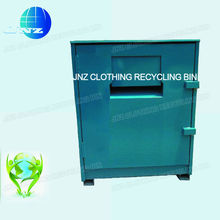 Galvanized steel clothing donation center bin