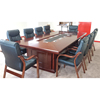 Luxury walnut color wood veneer conference table with 10 chairs for Ireland(FOH-H4833)