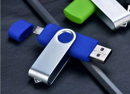 colourful color plastic swivel otg USB flash drive, double 2.0 USB interface USB disk