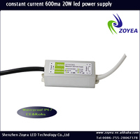 hot sale 20W waterproof constant current 500ma led driver 30-36V 600mA IP67 with CE&RoHS