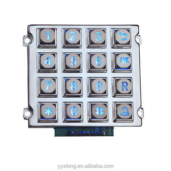 China 4x4 matrix 16 buttons blue light illuminated keypad