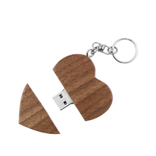 Promotional Eco-friendly wooden 4GB heart shape usb flash drive