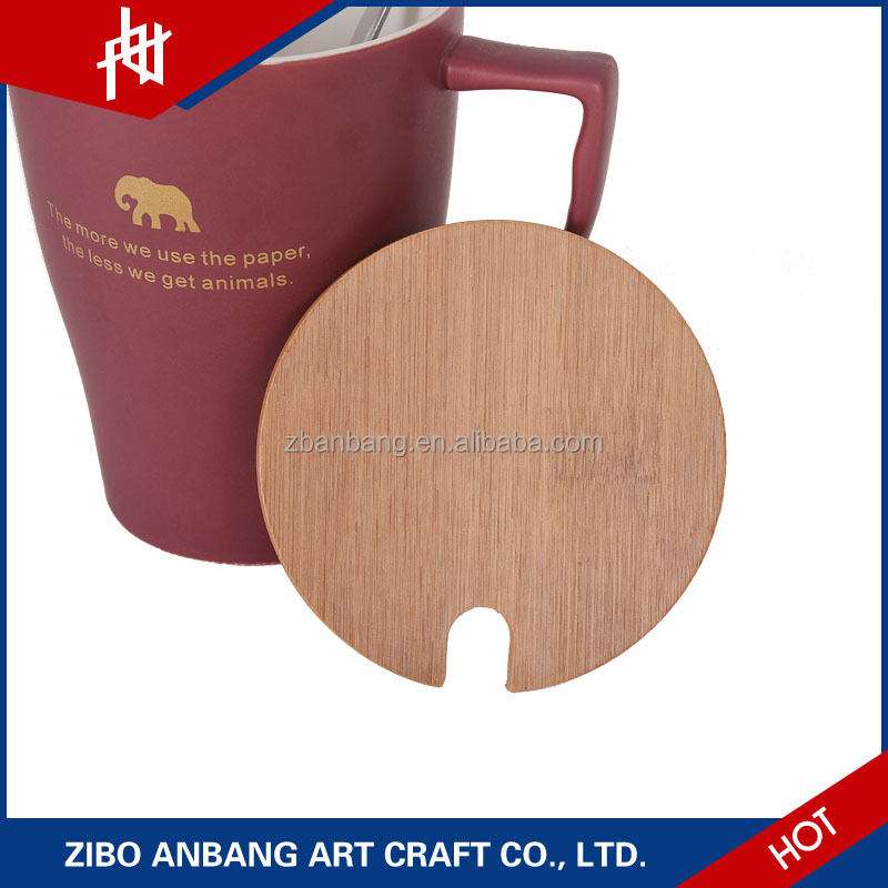 Awesome amber cup with bamboo cover for ceramic cup