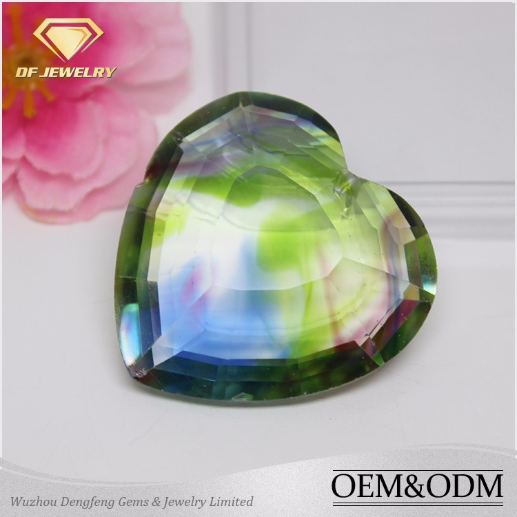 South America Hot Gems Color Change Synthetic Multi Color Heart Glass Gemstone from Wuzhou