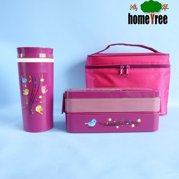 Practical 2 layers japanese lunch box set with bag and cup
