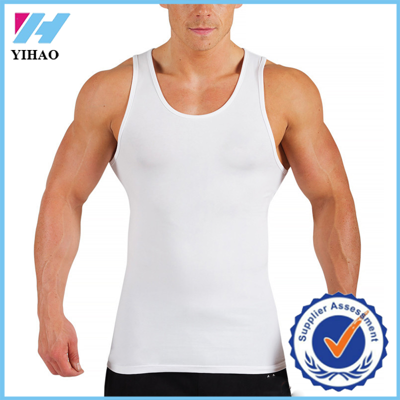 Wholesale gym wear Yihao custom men gym vest bodybuilding muscle loose fit singlet wholesale athletic wear gym vest/tank tops