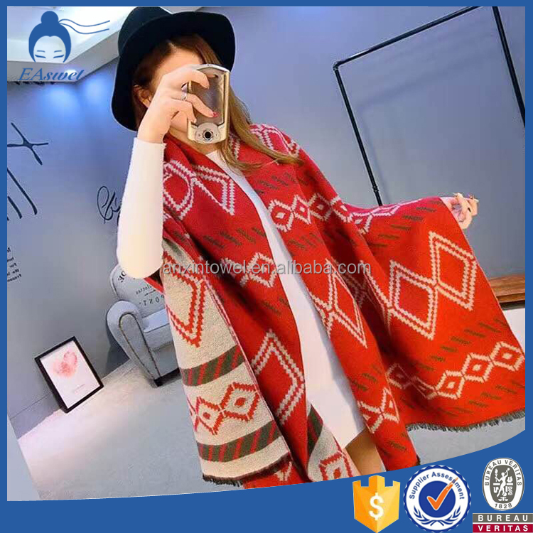 2016 Over-sized Huge Plaid Fringed Elegant Ladies Evening Shawls And Wraps Blanket For Women