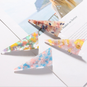 Acetate marble hairpin hair accessories triangle stitching adult acrylic headwear top clip