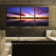 Modern Wall Art 3 Panel Sunset Glow Natural Scenery Canvas Wall Picture Oil Paintings for Sale