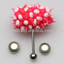 2014 Piercing tongue rings bioflex silicone vibrating tongue barbell