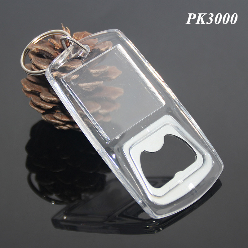 Transparent PMMA Acrylic Wholesale Cheap Blank Plastic Bottle Opener Keychain