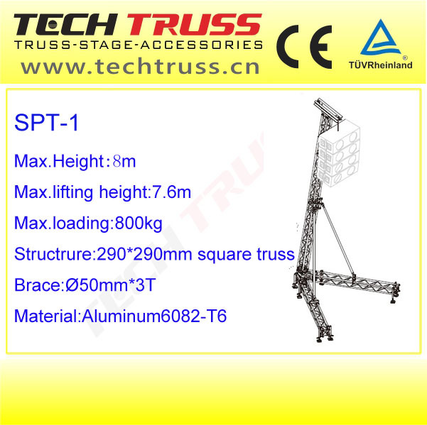 8m Max Load 800kg Line Array Stand Portable Outdoor Speaker/Truss/Light Lifter Tower