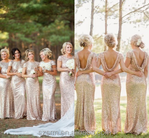 Gold Long Bridesmaid Dresses Sequined Short Sleeve Floor Length Cheap Bridesmaid Dress 2018