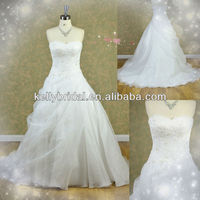 2014 HOT sale UK embroidered wedding dress made in orgenza
