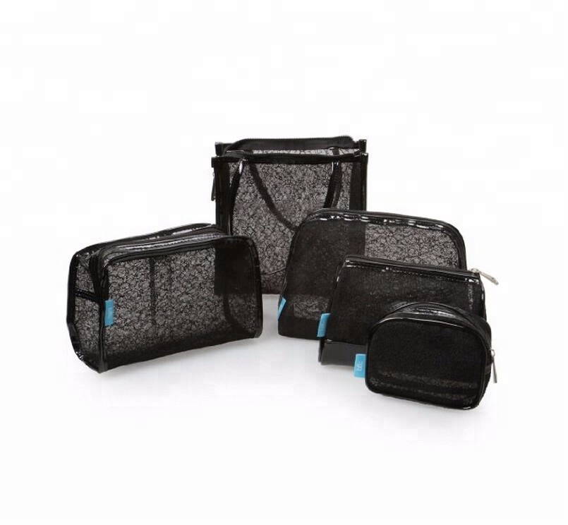 5 pc Black Mesh Lace Style <strong>Travel</strong> Make Up Pouch Cosmetic Bag Set for women