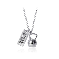 "Kettlebell Necklace ""Weakness Is a Choice"" Dumbbell Necklace, Barbell, Fitness Jewelry, Bodybuilding"
