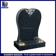 Black galaxy headstone with rose and flower holder