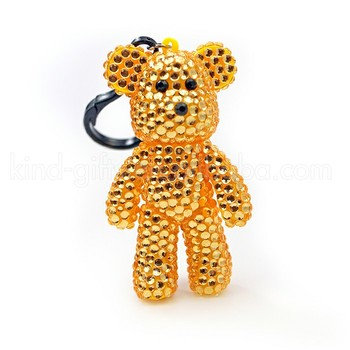 Cool Color Deluxe Shining Rhinestone Jeweled Cute Toy Cheap Keychains Plush Teddy Bear Keychain