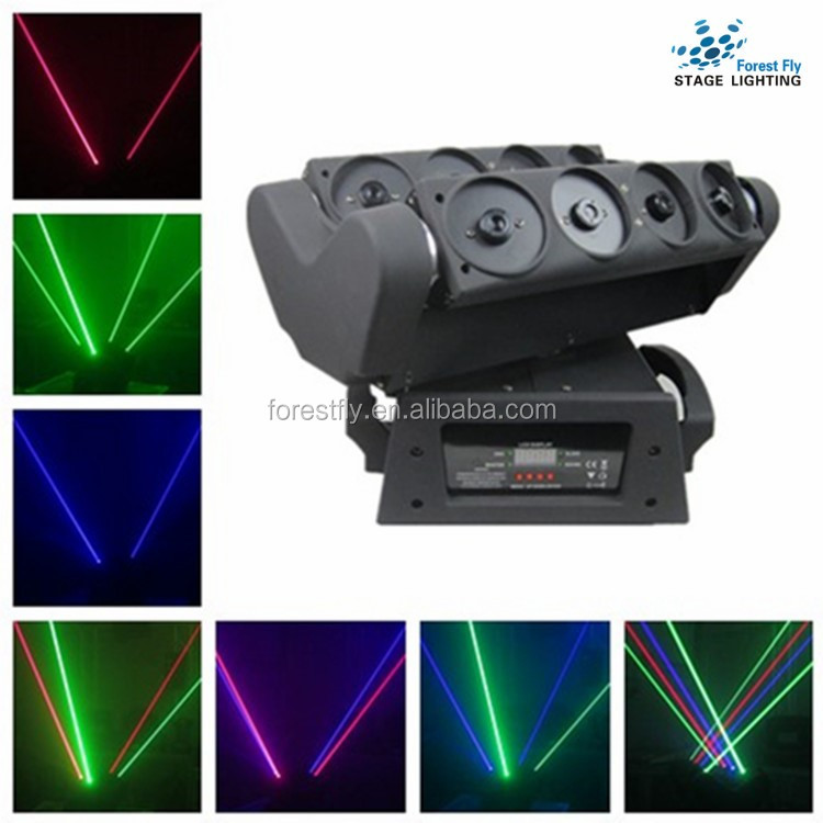 High Quality! Disco Show 8pcs RGB Spider Moving Head Laser lights