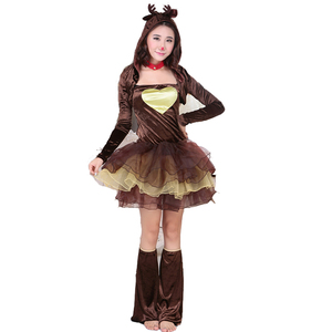 2015 Lovely Christmas Dec Cosplay Costumes Sexy Female Reindeer Animal Costume